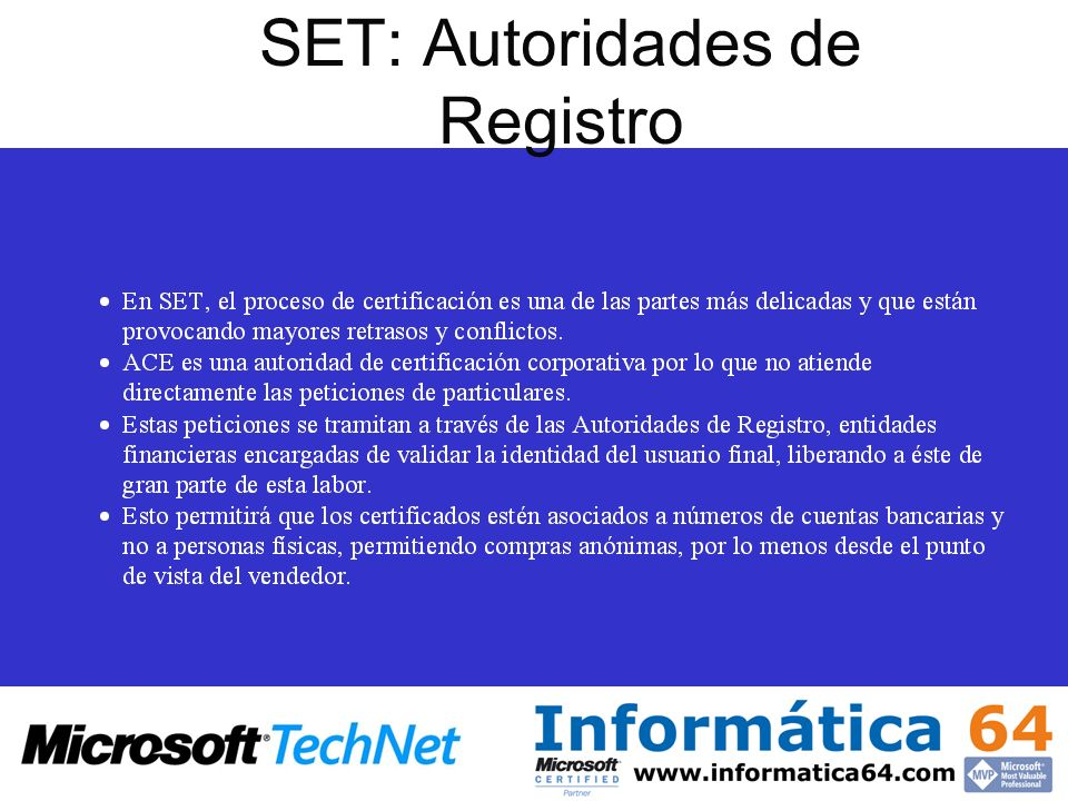 SET: Autoridades de Registro