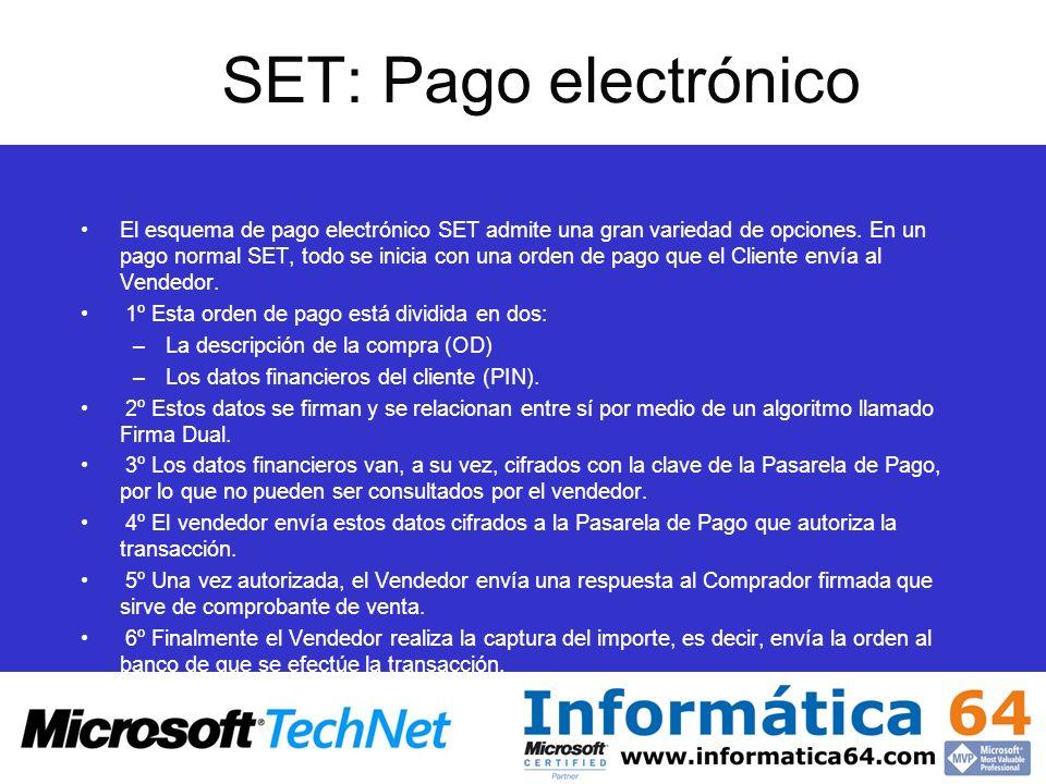 SET: Pago electrónico El esquema de pago electrónico SET admite una gran variedad de opciones. En un pago normal SET, todo se inicia con una orden de