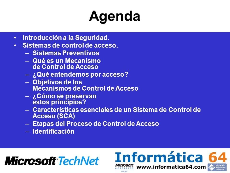 Agenda Introducción a la Seguridad. Sistemas de control de acceso. –Sistemas Preventivos –Qué es un Mecanismo de Control de Acceso –¿Qué entendemos po