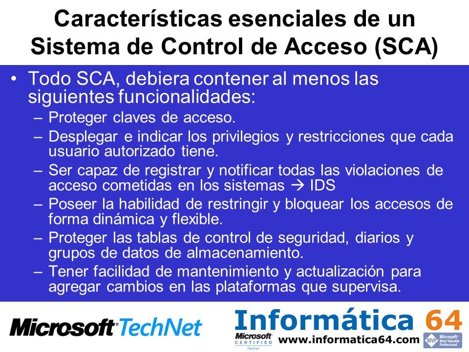 Características esenciales de un Sistema de Control de Acceso (SCA) Todo SCA, debiera contener al menos las siguientes funcionalidades: –Proteger clav