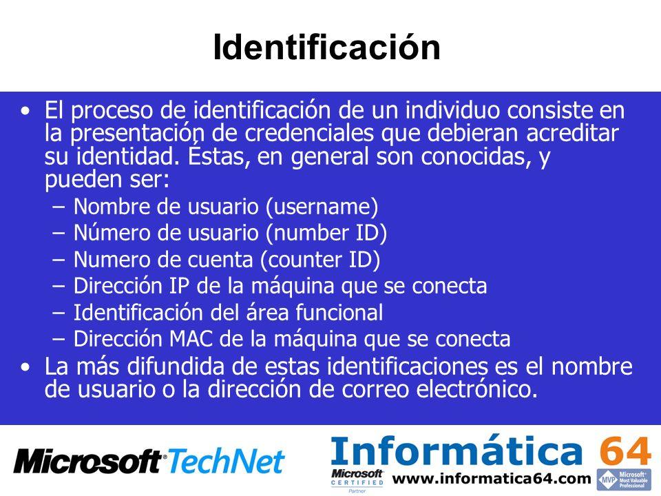 Identificación El proceso de identificación de un individuo consiste en la presentación de credenciales que debieran acreditar su identidad. Éstas, en
