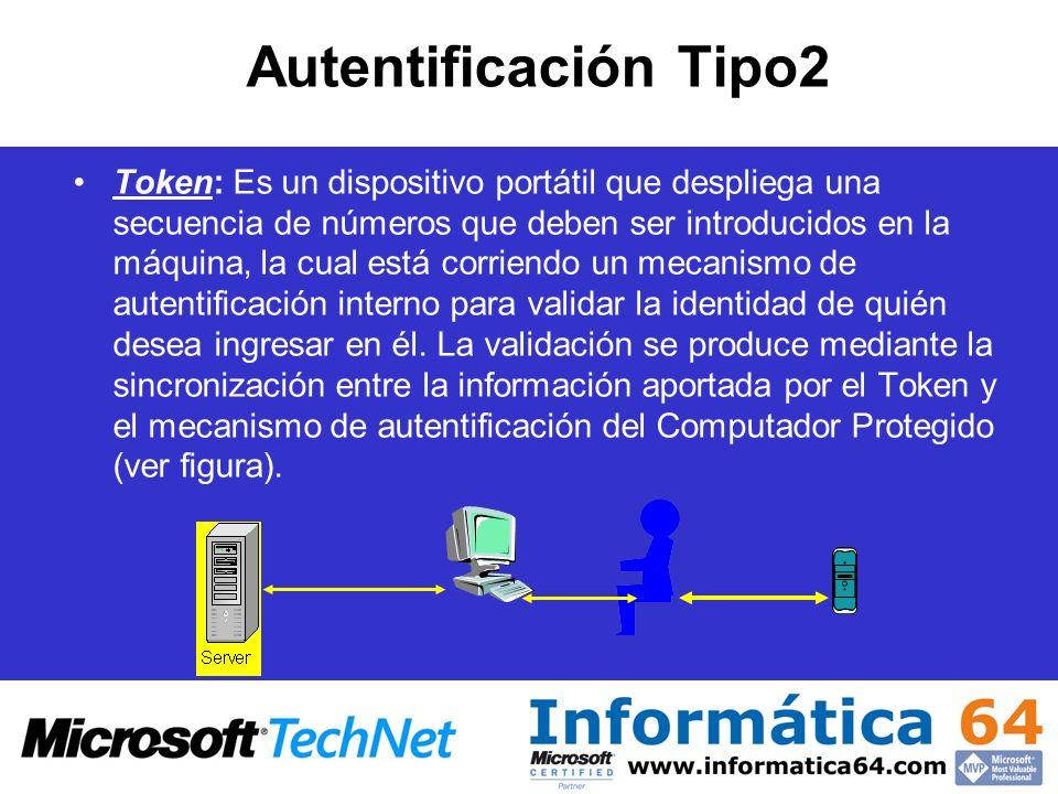 Autentificación Tipo2 Token: Es un dispositivo portátil que despliega una secuencia de números que deben ser introducidos en la máquina, la cual está