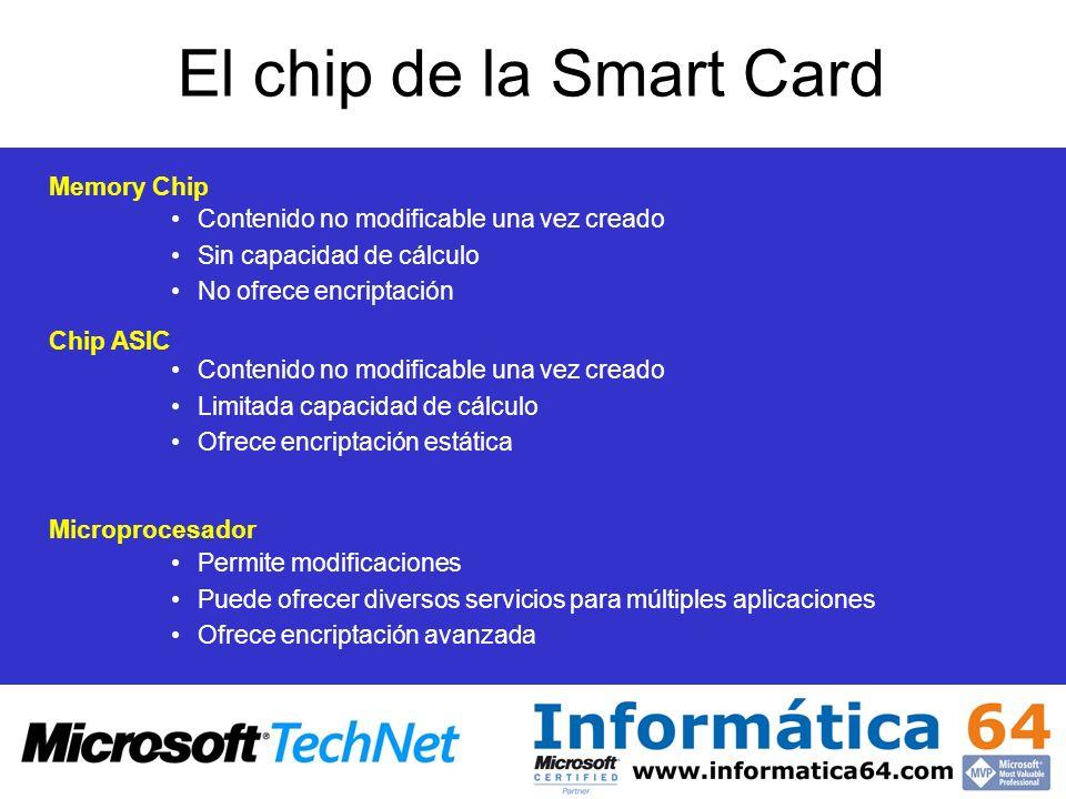 El chip de la Smart Card Memory Chip Contenido no modificable una vez creado Sin capacidad de cálculo No ofrece encriptación Chip ASIC Contenido no mo