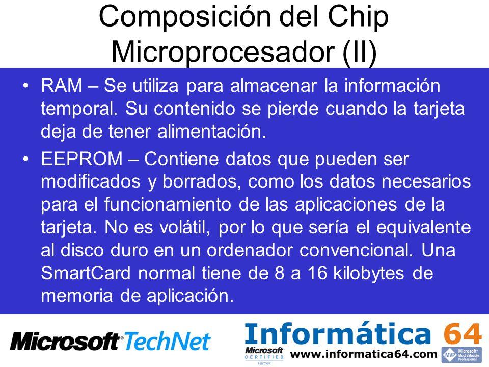 Composición del Chip Microprocesador (II) RAM – Se utiliza para almacenar la información temporal. Su contenido se pierde cuando la tarjeta deja de te