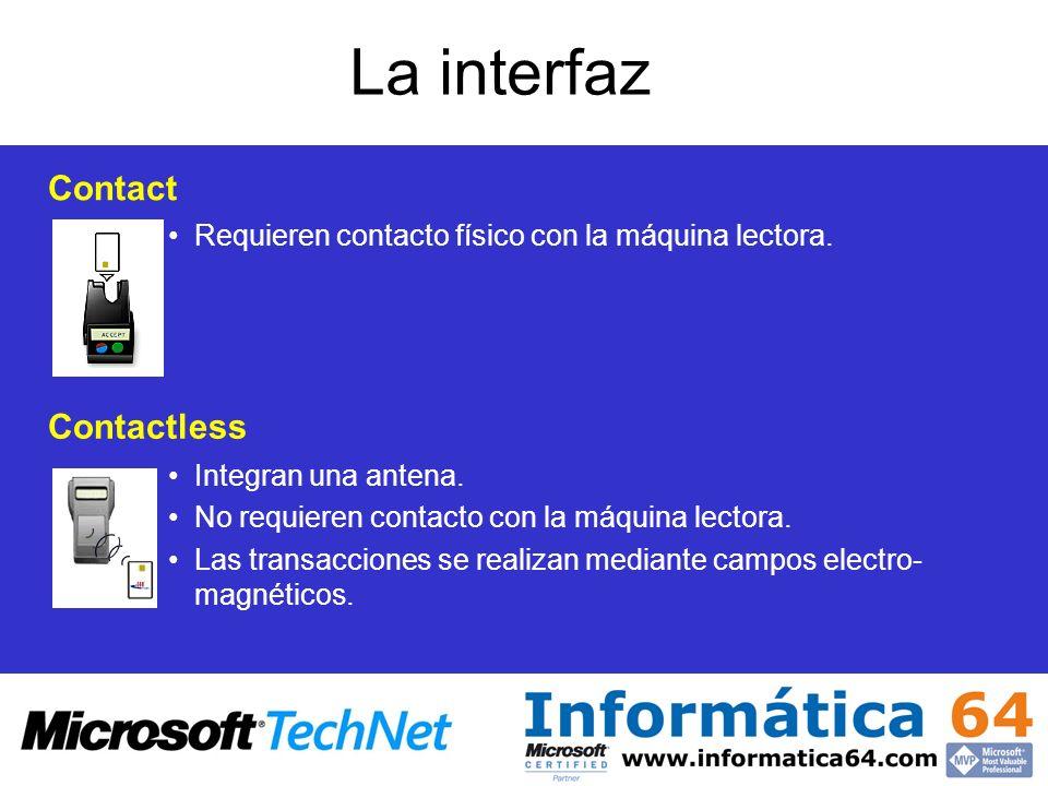 La interfaz Contact Requieren contacto físico con la máquina lectora. Contactless Integran una antena. No requieren contacto con la máquina lectora. L