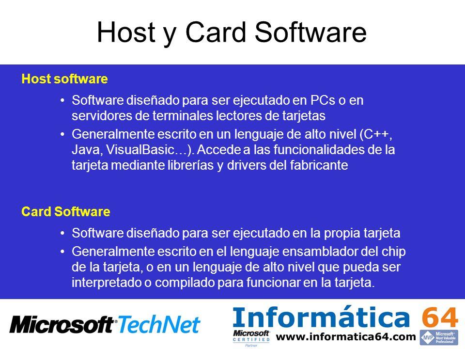 Host y Card Software Host software Card Software Software diseñado para ser ejecutado en PCs o en servidores de terminales lectores de tarjetas Genera