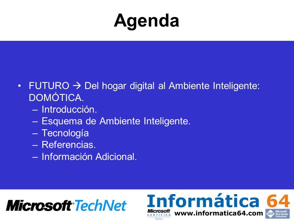 Agenda FUTURO Del hogar digital al Ambiente Inteligente: DOMÓTICA. –Introducción. –Esquema de Ambiente Inteligente. –Tecnología –Referencias. –Informa