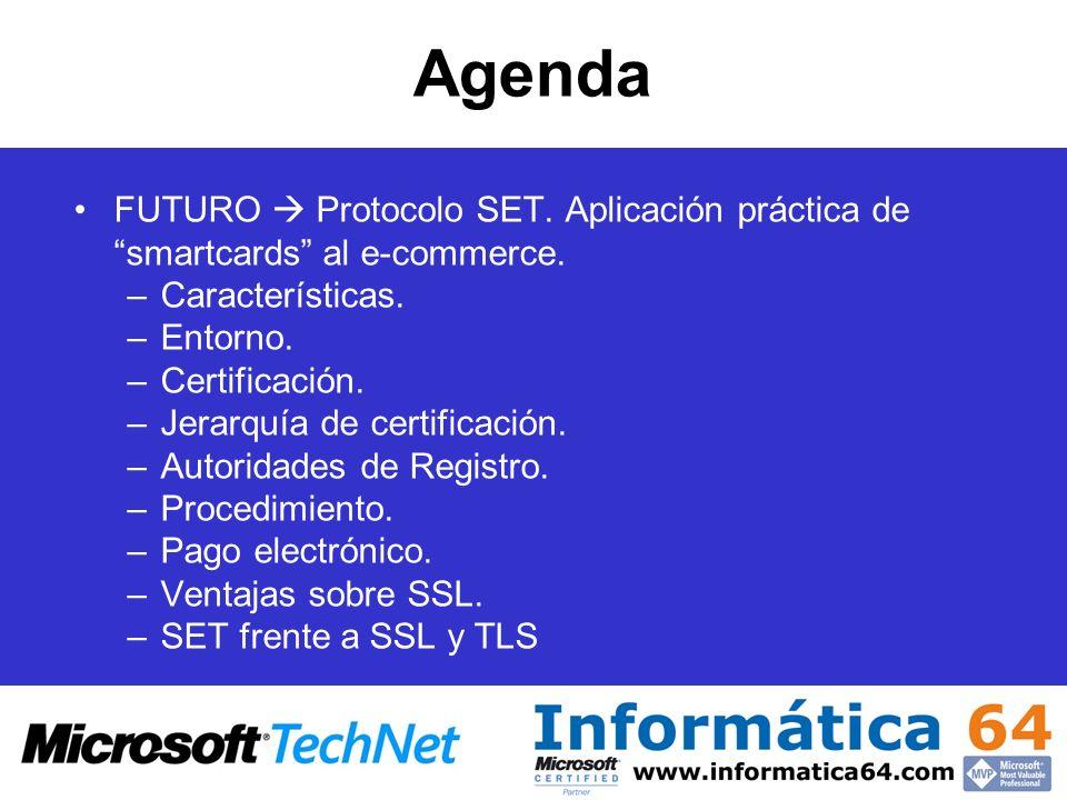Agenda FUTURO Protocolo SET. Aplicación práctica de smartcards al e-commerce. –Características. –Entorno. –Certificación. –Jerarquía de certificación.