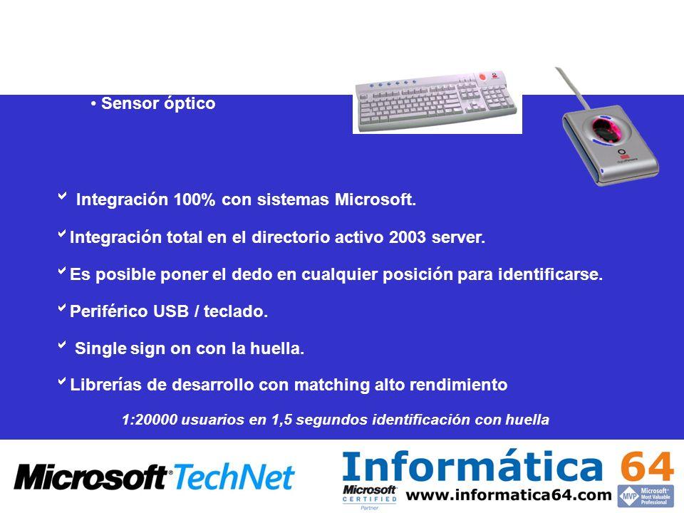 Integración 100% con sistemas Microsoft. Integración total en el directorio activo 2003 server. Es posible poner el dedo en cualquier posición para id