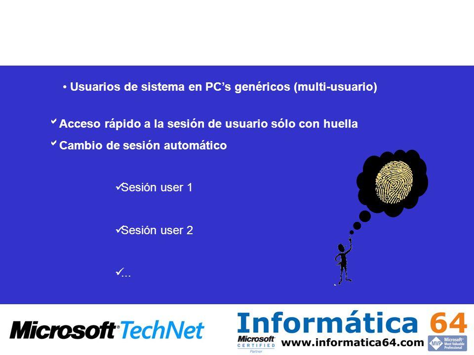 Acceso rápido a la sesión de usuario sólo con huella Cambio de sesión automático Sesión user 1 Sesión user 2... Usuarios de sistema en PCs genéricos (