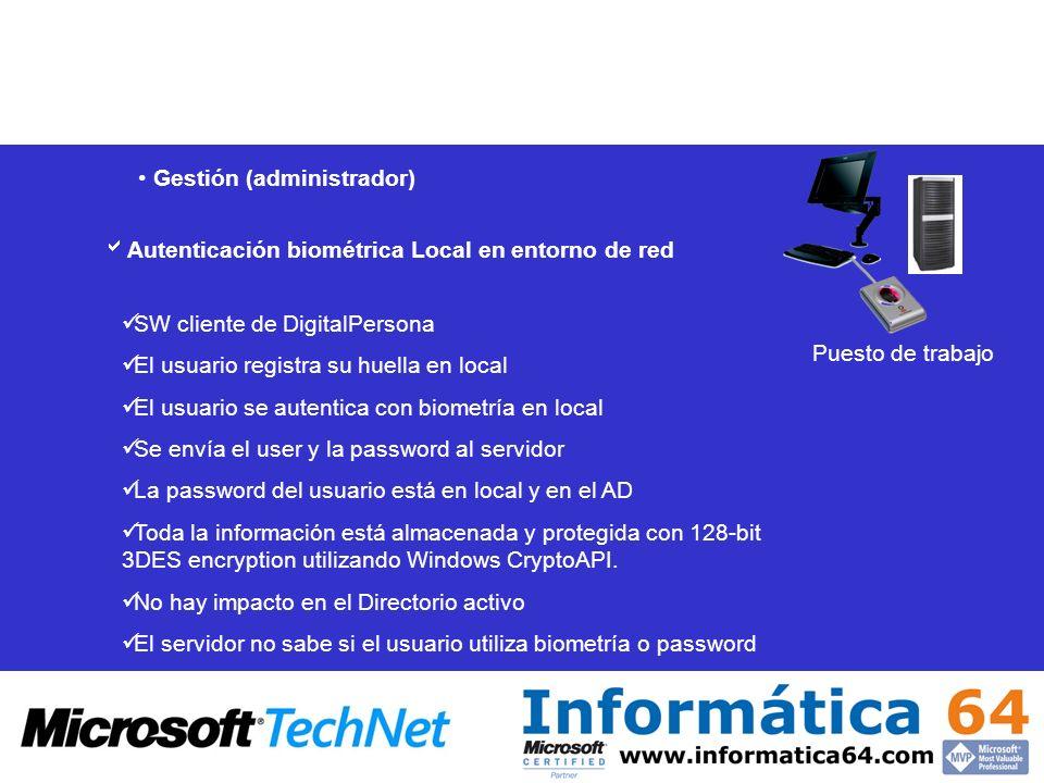 Gestión (administrador) Autenticación biométrica Local en entorno de red SW cliente de DigitalPersona El usuario registra su huella en local El usuari