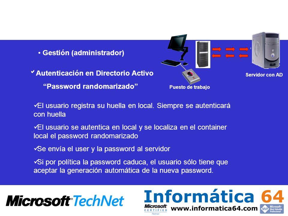 Gestión (administrador) Autenticación en Directorio Activo Password randomarizado El usuario registra su huella en local. Siempre se autenticará con h
