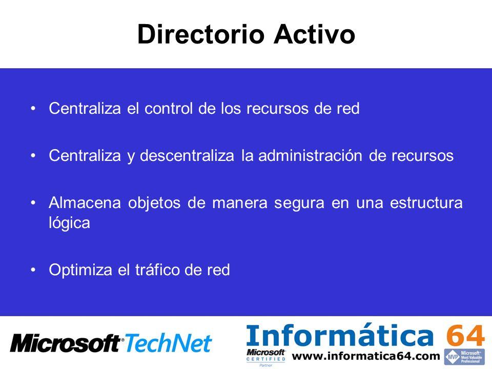 Requisitos Instalación de AD Una máquina ejecutando Windows 2003 Server R2 250 MB de espacio libre en una partición formateada en NTFS Privilegios administrativos para la creación de un dominio TCP/IP instalado y configurado para utilizar DNS