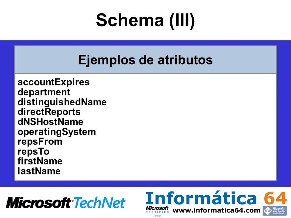 DSget Muestra las propiedades seleccionadas de un objeto específico del directorio –Para mostrar las descripciones de todos los equipos de una unidad organizativa determinada cuyo nombre comience por tst : dsquery computer OU=Test,DC=Microsoft,DC=Com -name tst* | dsget computer -desc –Para mostrar la lista de grupos, expandida de manera recursiva, a los que pertenece el equipo MiServidorBD: dsget computer CN=MiServidorBD,CN=computers,DC=Microsoft,DC=Com - memberof -expand