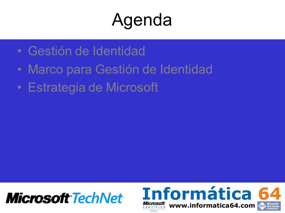Agenda Gestión de Identidad Marco para Gestión de Identidad Estrategia de Microsoft