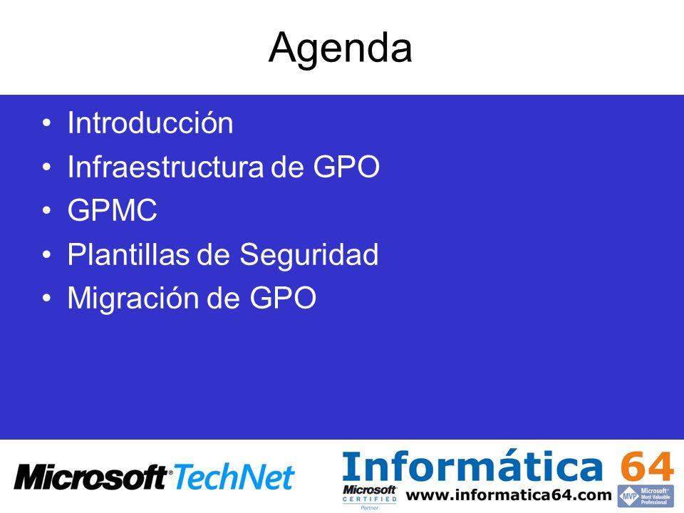 Agenda Introducción Infraestructura de GPO GPMC Plantillas de Seguridad Migración de GPO
