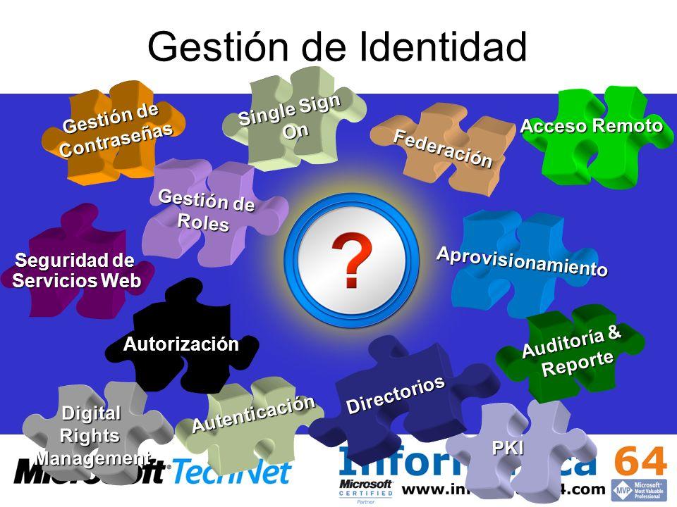 Gestión de Identidad Aprovisionamiento Single Sign On PKI Autenticación Federación Directorios Autorización Acceso Remoto Gestión de Contraseñas Segur