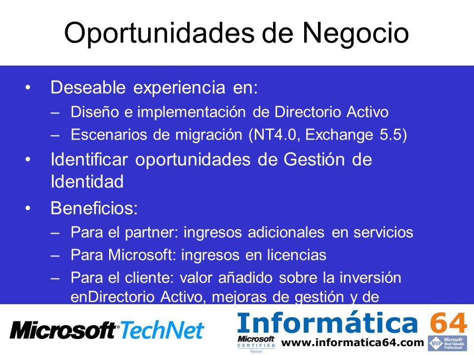 Oportunidades de Negocio Deseable experiencia en: –Diseño e implementación de Directorio Activo –Escenarios de migración (NT4.0, Exchange 5.5) Identif