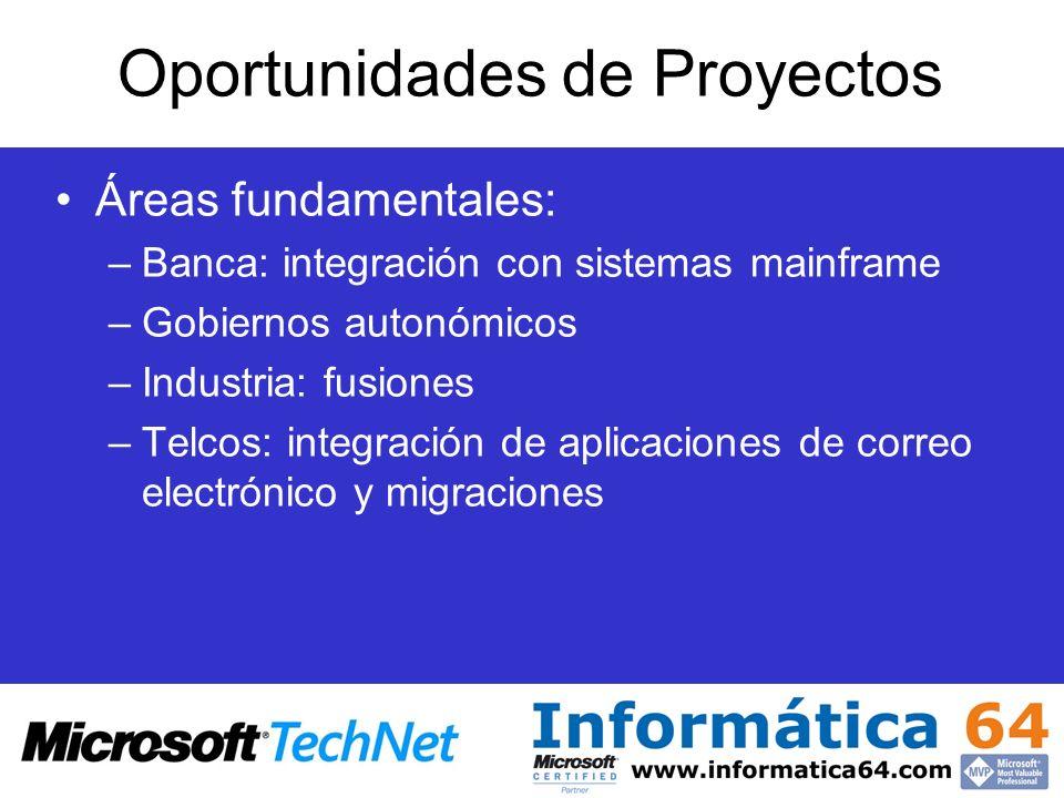 Oportunidades de Proyectos Áreas fundamentales: –Banca: integración con sistemas mainframe –Gobiernos autonómicos –Industria: fusiones –Telcos: integr