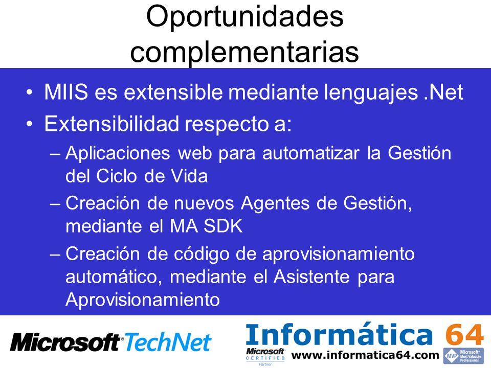 Oportunidades complementarias MIIS es extensible mediante lenguajes.Net Extensibilidad respecto a: –Aplicaciones web para automatizar la Gestión del C