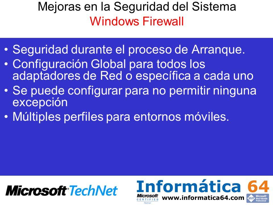 Seguridad durante el proceso de Arranque. Configuración Global para todos los adaptadores de Red o específica a cada uno Se puede configurar para no p