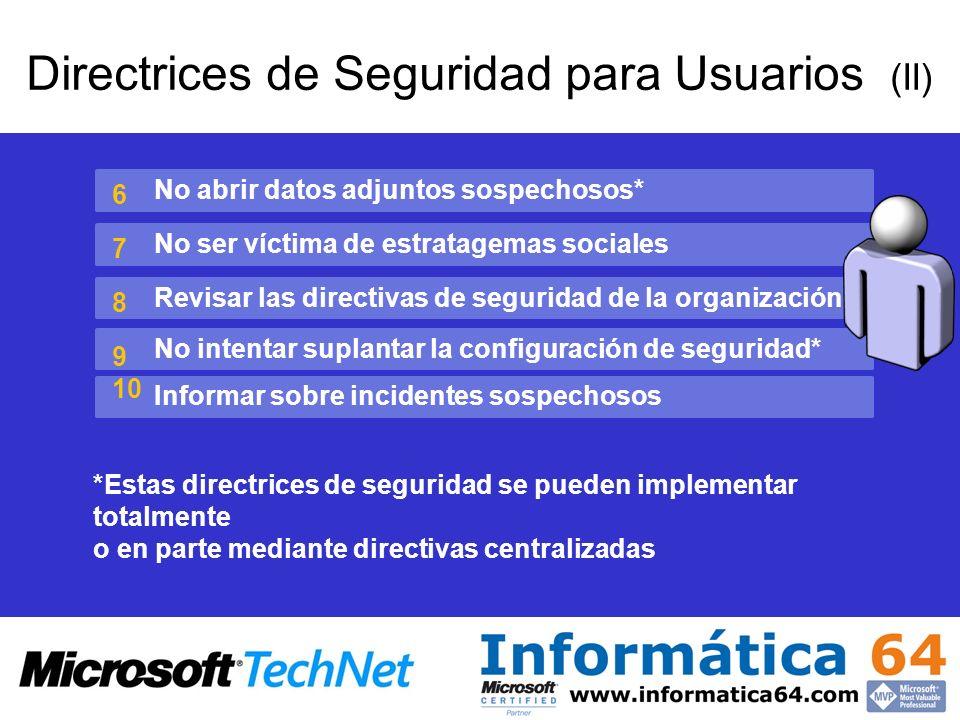 Directrices de Seguridad para Usuarios (II) No abrir datos adjuntos sospechosos* No ser víctima de estratagemas sociales Revisar las directivas de seg
