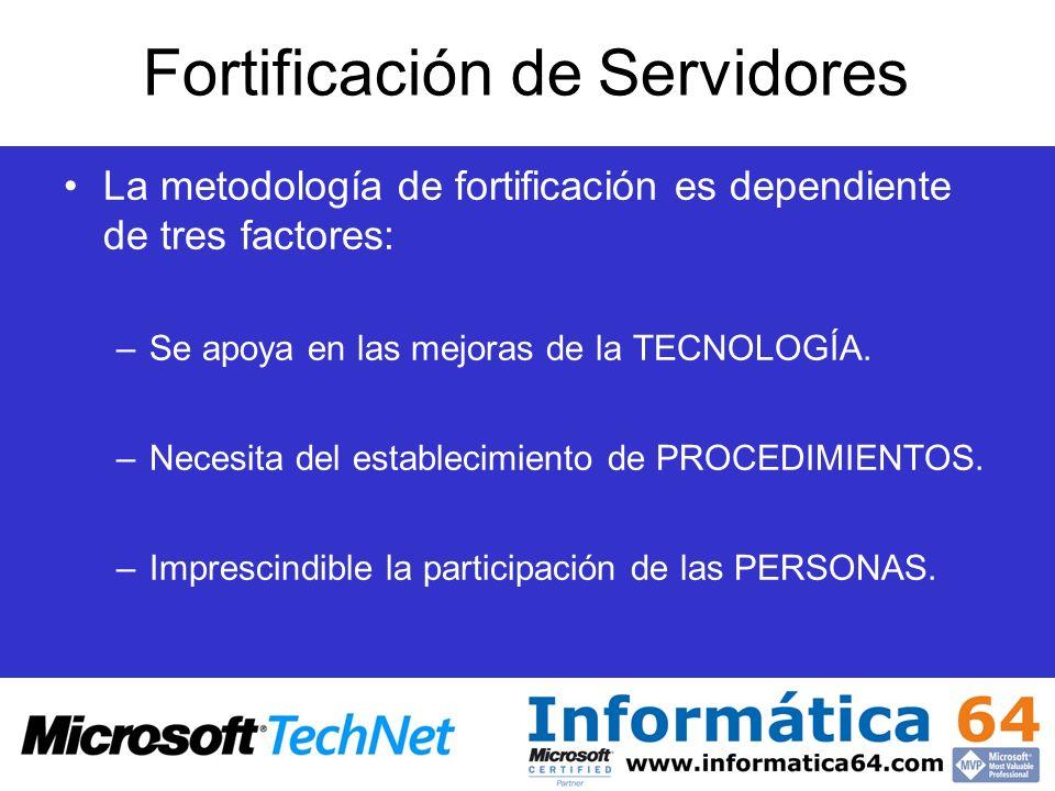 Fortificación de Servidores La metodología de fortificación es dependiente de tres factores: –Se apoya en las mejoras de la TECNOLOGÍA. –Necesita del