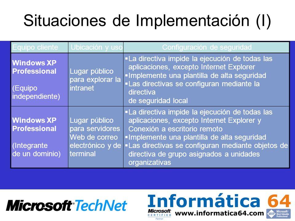 Situaciones de Implementación (I) Equipo clienteUbicación y usoConfiguración de seguridad Windows XP Professional (Equipo independiente) Lugar público