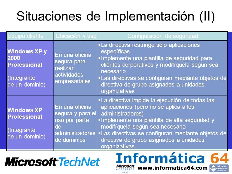 Situaciones de Implementación (II) Equipo clienteUbicación y usoConfiguración de seguridad Windows XP y 2000 Professional (Integrante de un dominio) E