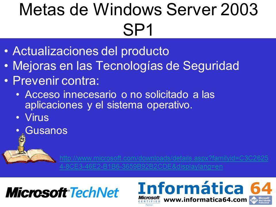 Metas de Windows Server 2003 SP1 Actualizaciones del producto Mejoras en las Tecnologías de Seguridad Prevenir contra: Acceso innecesario o no solicit