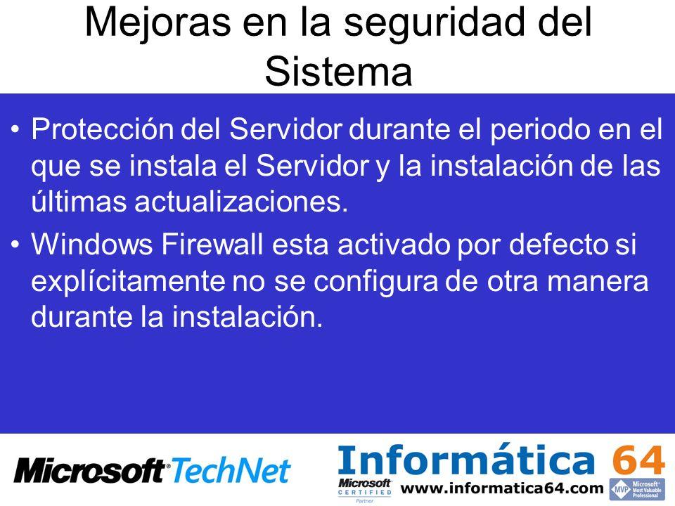 Mejoras en la seguridad del Sistema Protección del Servidor durante el periodo en el que se instala el Servidor y la instalación de las últimas actual