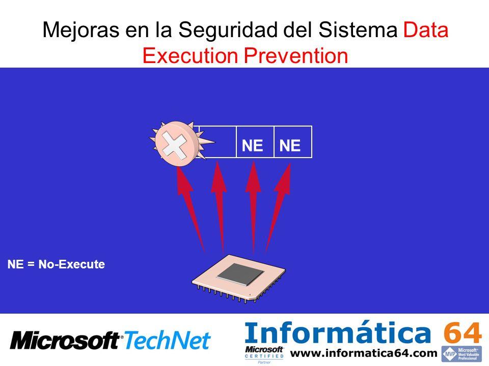 Mejoras en la Seguridad del Sistema Data Execution Prevention NE NE = No-Execute