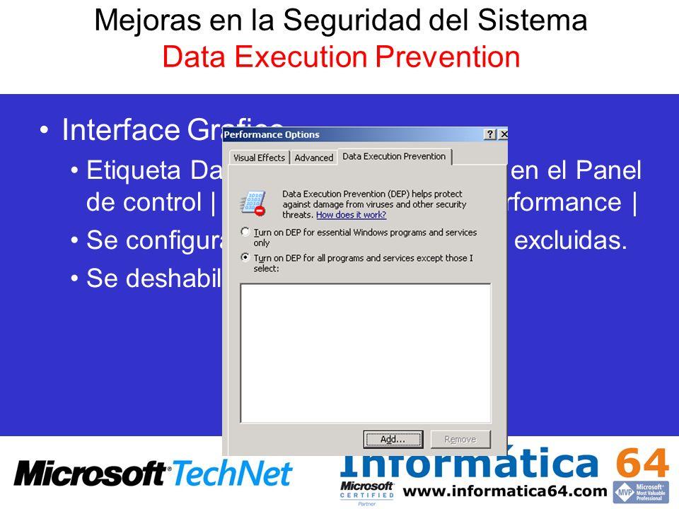 Mejoras en la Seguridad del Sistema Data Execution Prevention Interface Grafico Etiqueta Data Execution Prevention en el Panel de control | System | A