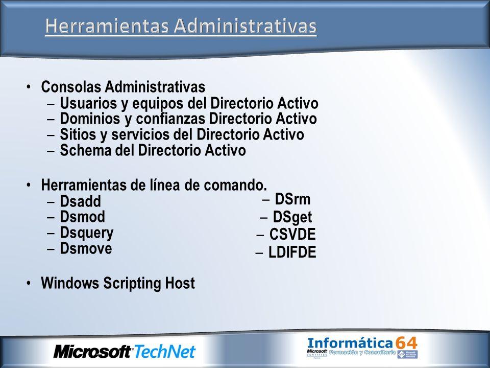 Consolas Administrativas – Usuarios y equipos del Directorio Activo – Dominios y confianzas Directorio Activo – Sitios y servicios del Directorio Acti