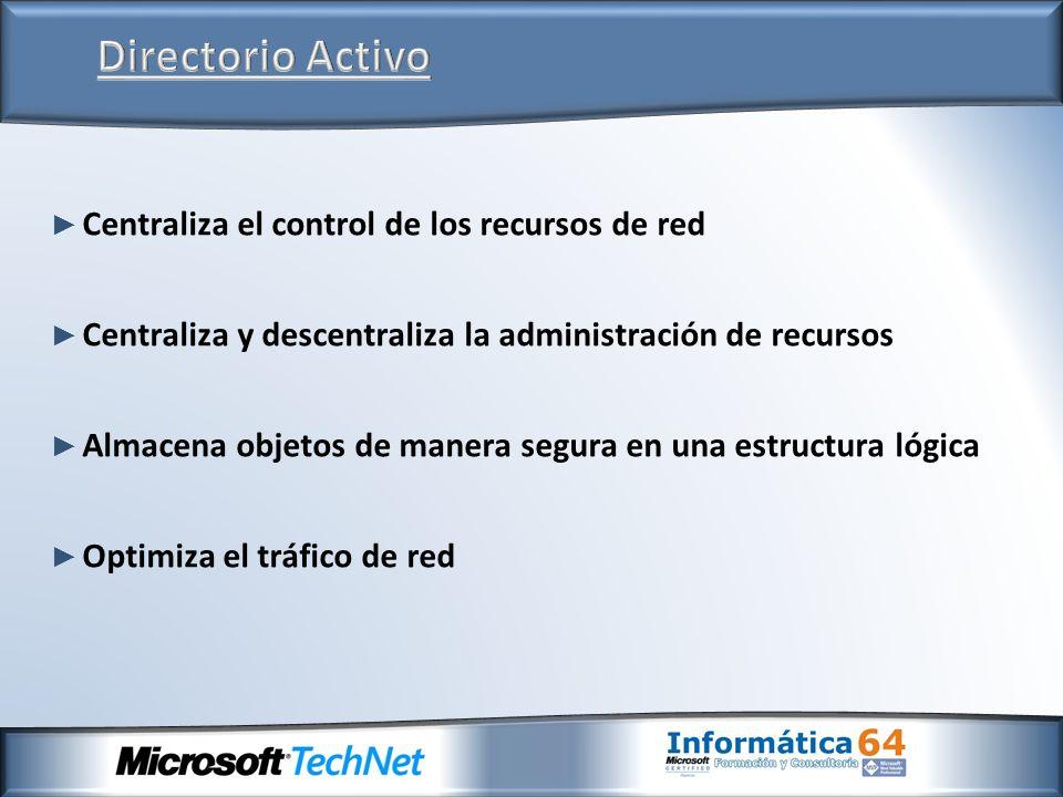 Centraliza el control de los recursos de red Centraliza y descentraliza la administración de recursos Almacena objetos de manera segura en una estruct