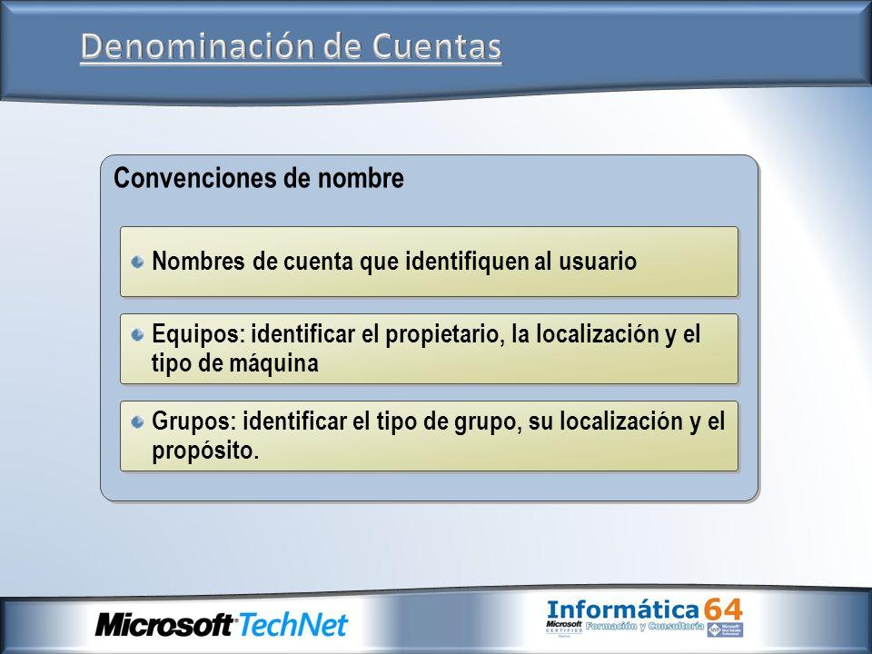 Convenciones de nombre Nombres de cuenta que identifiquen al usuario Equipos: identificar el propietario, la localización y el tipo de máquina Grupos:
