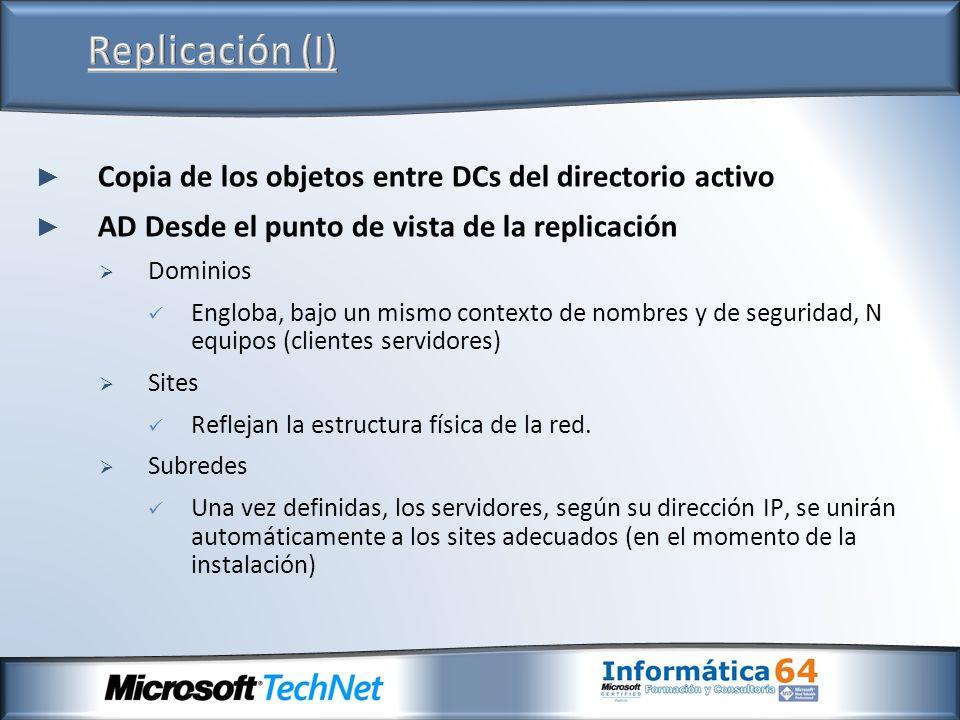 Copia de los objetos entre DCs del directorio activo AD Desde el punto de vista de la replicación Dominios Engloba, bajo un mismo contexto de nombres