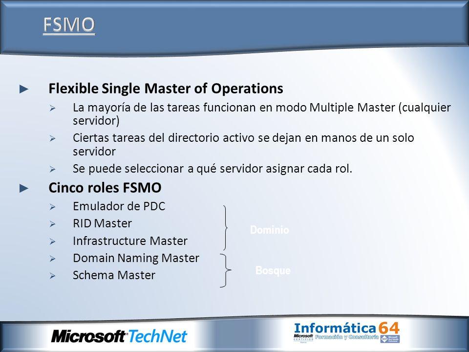 Flexible Single Master of Operations La mayoría de las tareas funcionan en modo Multiple Master (cualquier servidor) Ciertas tareas del directorio act