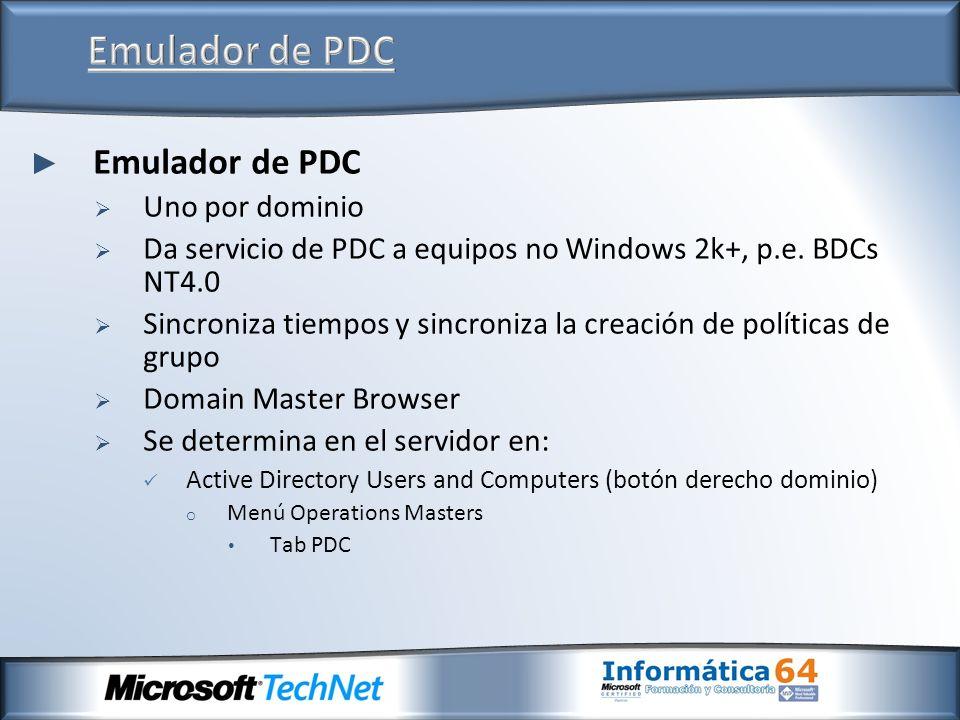 Emulador de PDC Uno por dominio Da servicio de PDC a equipos no Windows 2k+, p.e. BDCs NT4.0 Sincroniza tiempos y sincroniza la creación de políticas