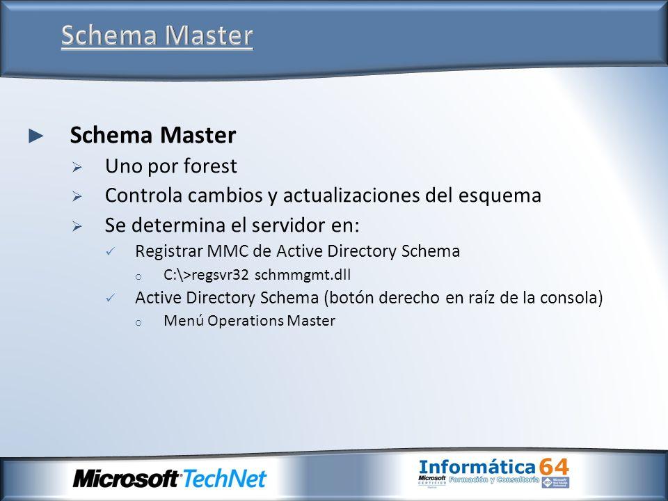 Schema Master Uno por forest Controla cambios y actualizaciones del esquema Se determina el servidor en: Registrar MMC de Active Directory Schema o C: