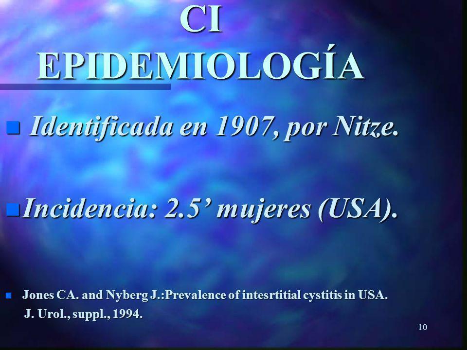 9 CISTITIS INTERSTICIAL LÍNEA DE TIEMPO ---------------------------------------------------------------------------------- Edad 20 años 40 años 60 año