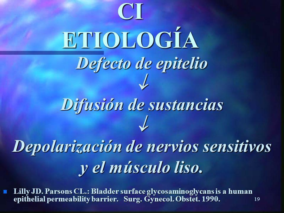 18 CI ETIOLOGÍA n Factores psicosomáticos n Navio S. y Allona A.: Cistitis Intersticial: Factores psicosomáticos. Patología Urológica Infecciosa. 1999