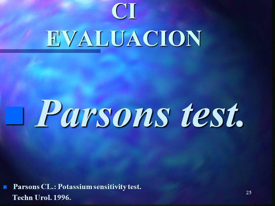 24 CI EVALUACION Cistoscopía Cistoscopía n Nigro DA et al.: Associations among cystoscopic and urodinamic findings for woman enrolled in the Interstit