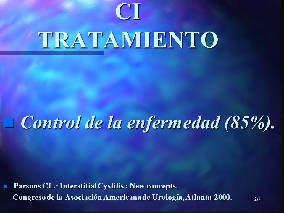 25 CI EVALUACION n Parsons test. n Parsons CL.: Potassium sensitivity test. Techn Urol. 1996. Techn Urol. 1996.