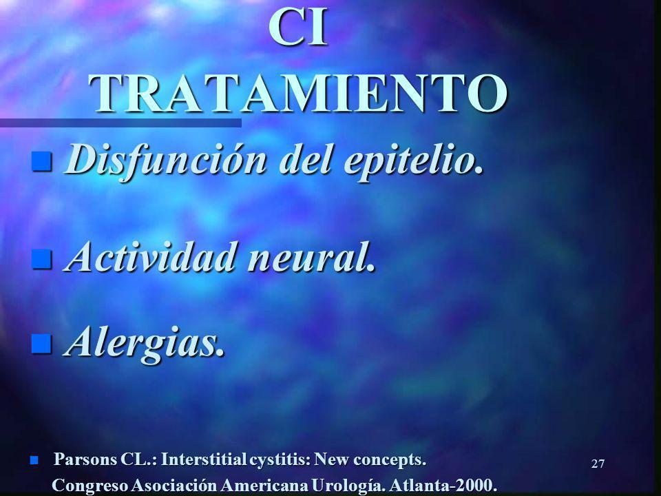 26 CI TRATAMIENTO n Control de la enfermedad (85%). n Parsons CL.: Interstitial Cystitis : New concepts. Congreso de la Asociación Americana de Urolog