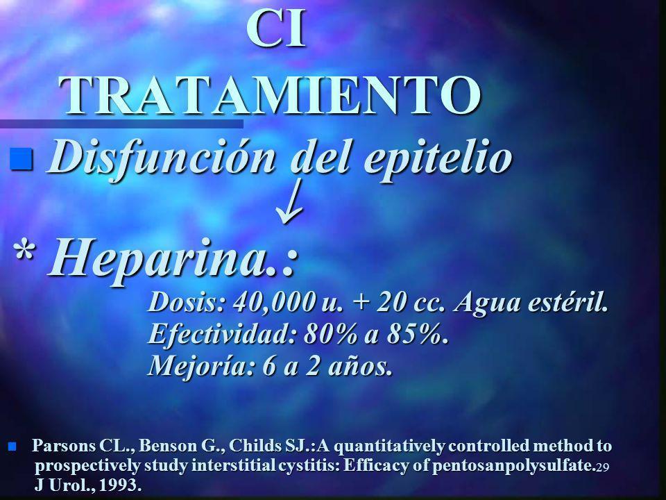 28 CI TRATAMIENTO * Dimethylsulfoxide (FDA-1977): Dosis: 50 cc DMSO al 50%. Dosis: 50 cc DMSO al 50%. Efectividad: 34% a 40%. Efectividad: 34% a 40%.