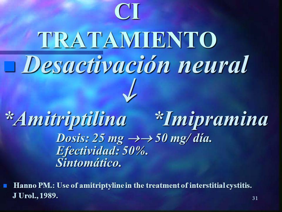30 CI TRATAMIENTO CI TRATAMIENTO n Disfunción del epitelio *Pentosanpolysulfato (FDA-1996): Dosis: 100 mg./3 al día. Dosis: 100 mg./3 al día. Efectivi