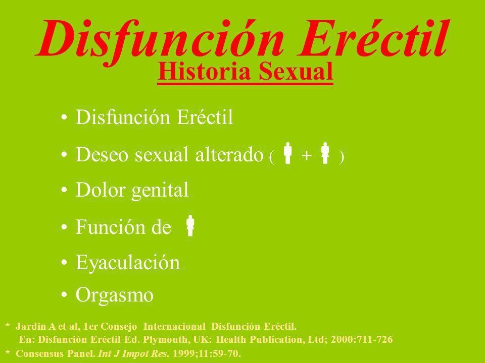 Historia Sexual Disfunción Eréctil Deseo sexual alterado ( + ) Dolor genital Función de Eyaculación Orgasmo * Jardin A et al, 1er Consejo Internacional Disfunción Eréctil.
