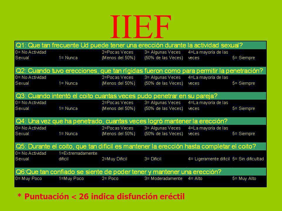 IIEF * Puntuación < 26 indica disfunción eréctil