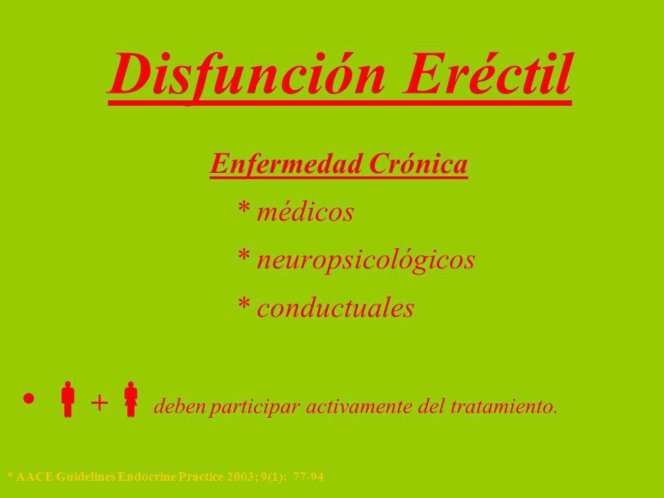 Diagnóstico * Hemograma * Hb * Glicemia * Creatinina * T total y libre * TSH, T4 * APE * Lípidos * Prolactina Disfunción Eréctil * Jardin A et al, 1er Consejo Internacional Disfunción Eréctil.